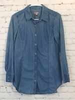 J Jill Womens Size XS Long Sleeve Tunic Top Medium Wash Button Down Denim Shirt