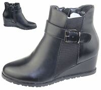 WOMENS WEDGE HEEL WINTER HIGH TOP BOOTS LADIES ANKLE ARMY BIKER GIRLS SHOES NEW