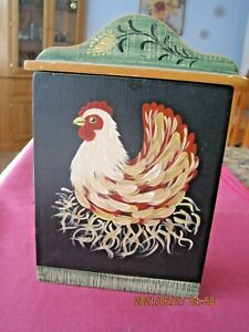 Wall Mounted  Wooden Key Holder Cabinet Box  Chicken/Rooster  w/ 6 Hooks