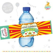 10 X Personalised Circus Showtime Birthday Party Water Bottle Label