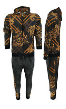 New Mens Baroque Flower Print Urban Fashion Matching Top&Joggers Tracksuit Sets