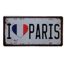 I LOVE PARIS car License plate Metal Sign Tin Poster Pub Bar Cafe Shop Home