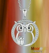New Owl Mother and Baby Mom Dad Owls Bird Crystal Pendant Silver Necklace