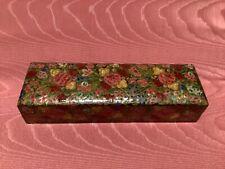 More details for antique kashmir hand painted pen box. early 1900s. papier mache.
