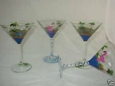 Hand Painted Martini Glasses with Flamingos Set of 4