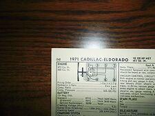 1972 Cadillac & Eldorado EIGHT Series 220HP 235HP 472CI & 500CI V8 Tune Up Chart
