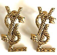 YSL SAINT LAURENT Gold Snake Serpent LOGO PIERCED EARRINGS MINT