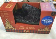 DF By Dearfoams Black Faux Fur Memory Foam Slippers Size L(9-10) Gel Infused