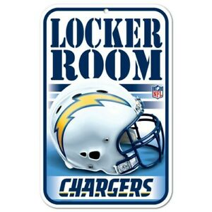 """LOS ANGELES CHARGERS LOCKER ROOM 11""""X17"""" PLASTIC SIGN DURABLE POSTER NFL LICENSE"""