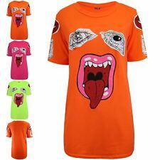 Womens Ladies Lips Monster Eyes Oversized Short Sleeve Round Neck Basic T-Shirt