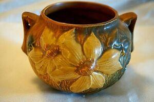 "ROSEVILLE ART POTTERY CLEMATIS BROWN/ GOLD VASE 455-4"" TWIN HANDLES MINT! MCM"