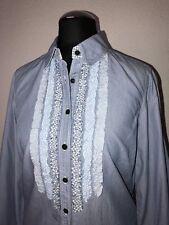 ❤️ Tommy Hilfiger ❤️ Süße Bluse mit Rüschen Blau gestreift ❤️ Gr. 6 36 ❤️