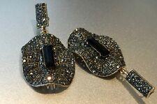 14K Antique Gold  Designer Earrings made w Swarovski Crystal Black Onyx Stone