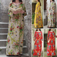 Womens Oversized Long Sleeve Floral Printed Casual Loose Kaftan Baggy Maxi Dress