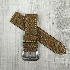 Khaki Canvas & Leather watch strap Band For 22mm 24mm 26mm Panerai PAM Watches