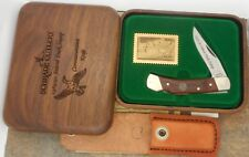 SCHRADE USA 1989/90 FEDERAL DUCK STAMP,  WOOD BOX & LOCKBACK KNIFE WITH SHEATH