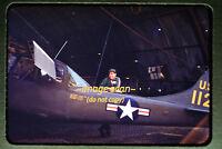 1950's Army Cessna Aircraft and Soldier in Korea, Korean War, Original Slide a4a