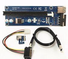 USB 3.0 PCI-E Express 1x to16x Tarjeta Vertical Extender Adaptador Cable de alimentación SATA 4Pin