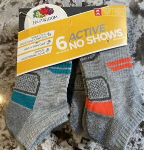 NEW WITH TAGS BOYS FRUIT OF THE LOOM 6 PACK NO SHOW SOCKS SIZE M SHOE SIZE 9-2.5