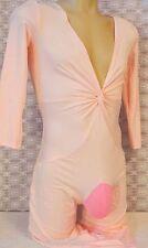 "Crossdress Pink Catsuit Jumpsuit Plunging Capri Sissy Pouch Panty 32""- 38"" LG"