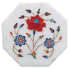 """9""""x9"""" Designer Work Marble Inlay  Table Top Floral"""