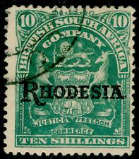 RHODESIA SG112, 10s dull green, FINE USED. Cat £23.