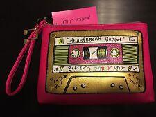 Betsy Johnson Fuchsia Mix Tape Wristlet Clutch Rare HTF