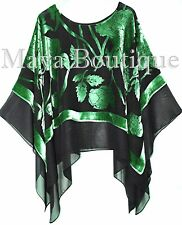 Emerald Green Black Tiered Poncho Top Silk Burnout Velvet & Chiffon Maya Matazar
