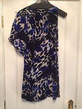 Oasis Silk Animal Print Blue Black White One Sleeve Cold Shoulder Dress Size 8
