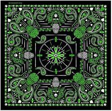 "GREEN Paisley Skull Bandana measures 21""x21"" High Quality BIKER Doo Rag BAN-0131"