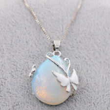 Women's 925 Silver Fire Opal Gemstone Butterfly Pendant Necklace Chain Jewelry