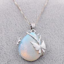 Women 925 Silver Fire Opal Gemstone Butterfly Pendants Necklace Fashion Jewelry