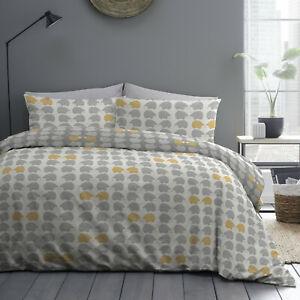 100% Brushed Cotton Reversible Animals Hedgehog Grey Duvet Quilt Cover Bed Set