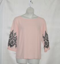 Bob Mackie Embroidered Lace and Cut Out Bell Sleeve Pullover Top Size 1X Blush