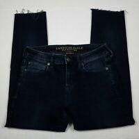 American Eagle Skinny Jeans Mens Size 30 X 30 Blue Raw Hem Flex Denim AEO AE