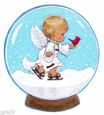"5.5"" PRECIOUS MOMENTS ANGEL BIRD  CHRISTMAS HOLIDAY WINDOW CLING DECAL CUT OUT"