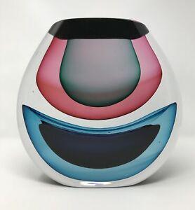 Original INFUSION ORB by Jamie Harris 2005 Red Blue Studio Glass Art - FAST SHIP