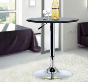 Adjustable Round Bar Table w/ PU Leather Top Steel Base Bistro Black