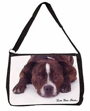 Staff Bull Terrier 'Love You Mum' Large Black Laptop Shoulder Bag Scho, MUM-D9SB