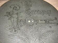The Criterion placa de chapa 29,1cm caja de música juego lata reloj Antique Music Box Disc