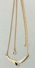 Kette Goldkette 585 mit Brillanten und Saphir - Collier 14 kt Gold - Goldcollier