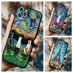 3D Emboss Painting Case Cover For iPhone 13 12 11 Pro Max XR XS X 8 Soft Silicon