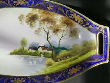 """Old NORITAKE Long (13"""") Tray - HANDPAINTED Lake Swan Village - Cobalt Blue, Gold"""