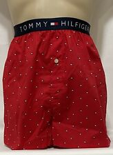 "Tommy Hilfiger Button Fly Woven Boxer Medium 32-34 Red ""Mahogany""  (1684)"