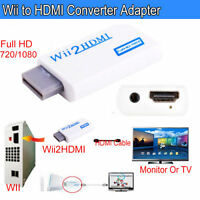 UK Wii Input to HDMI 1080P HD Adapter Converter Cable 3.5mm Lead Jack White