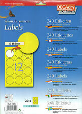 Decadry OLW-4836 Yellow Permanent Labels Round Blank Labels Stickers