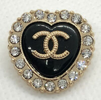 Chanel Button black heart rhinestone   23mm Charming Gift Stamped