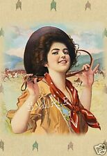 Vintage 1909 COWGIRL Horse *CANVAS* Western Art ~ LARGE