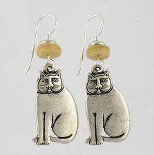 NEW! Laurel Burch MYSTIC CAT Antiqued Silver Lead Free Pewter Retired Earrings