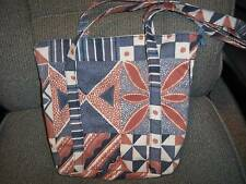 """Handmade"" Purse Denim Geometric  11"" H X 12 1/2 W Multi-Color Shoulder Bag"